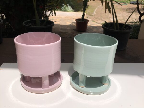 Tripod Green & Pink Glazed Pots