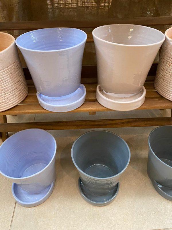 Lilac blue glazed pots