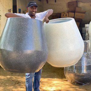 Big fibre glass pots